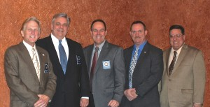 L to R, Commissioners Howard Abbondondelo, Ray Averna and Thomas Hand; Patrick Beckley; Commissioner Andy Bader.